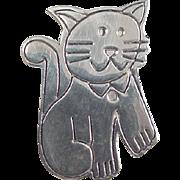Vintage Sterling Silver Cat Pin / Brooch