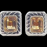 Vintage 18k Gold Two-Tone 4.50 ctw Citrine Stud Earrings