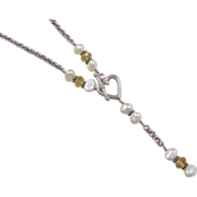 Vintage Sterling Silver Citrine and Cultured Pearl Necklace with Heart Toggle
