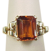Vintage 14k Gold Madeira Citrine Ring