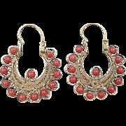 Victorian 21k Gold Red Coral Filigree Hoop Earrings