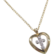 Vintage 14k Gold Two-Tone Cross and Heart Necklace