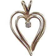 Vintage 14k Gold Diamond Heart Charm / Pendant