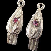 Victorian 14k Gold Two-Tone Faux Ruby Earring Jackets