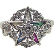 Vintage 10k White Gold Eastern Star Ring ~ Masonic ~ Diamond Accents