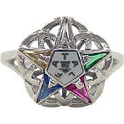 Vintage 10k White Gold Masonic Eastern Star Ring