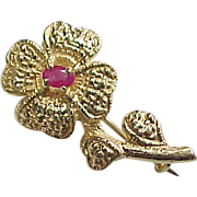 Edwardian 14k Gold Natural Ruby Flower Brooch / Pin