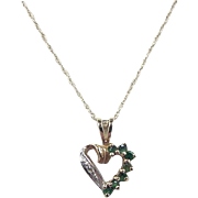 REDUCED Vintage 14k Gold Emerald and Diamond Heart Necklace