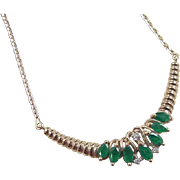 Vintage 14k Gold 1.36 ctw Emerald and Diamond Necklace