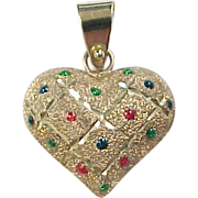 Vintage 10k Gold Colorful Enamel Dot Heart Charm / Pendant