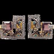 Vintage 22k Gold Two-Tone Big Faux Gemstone Stud Earrings