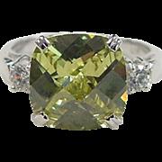 Vintage Sterling Silver Faux Lemon Quartz and Faux Diamond Ring