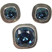 Mexican Made Sterling Silver Faux Sapphire Set ~ Stud Earrings and Pendant