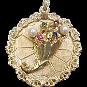 Vintage 14k Gold Flower Cornucopia Charm / Pendant