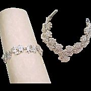 Sterling Silver Marcasite Flower Necklace and Bracelet Set