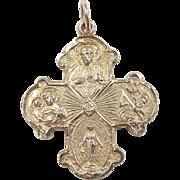 Vintage 10k Gold Four - Way Metal ~ Catholic Call a Priest Pendant