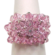 Vintage Sterling Silver Fun Moving Pink Bead Ring