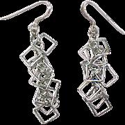 Vintage Sterling Silver Fun Square Dangle Earrings