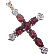 Vintage 14k Gold Two-Tone Garnet and Diamond Cross Pendant
