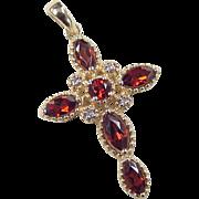 Vintage 14k Gold Garnet and Diamond Cross Pendant