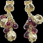 Vintage 14k Gold Long Garnet and Leaf Dangle Earrings