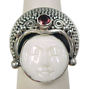 Vintage Sterling Silver Garnet Bead Setting Ring