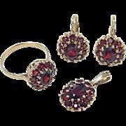 REDUCED Vintage 14k Gold Garnet Set ~ Earrings, Ring & Pendant