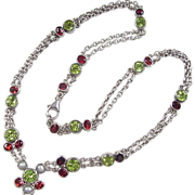 Vintage Sterling Silver Garnet, Peridot and Cultured Pearl Necklace ~ 18""