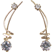 Vintage Gold Vermeil Faux Diamond Ear Cuffs