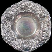 Estate Sterling Silver Gorham Flower High Relief Bon Bon Bowl ~ Rainbow Patina