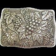 Sterling Silver Grape and Leaf Belt Buckle
