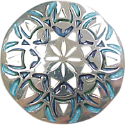 Sterling Silver Guilloche Enamel Pierced Brooch / Pin