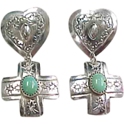 Sterling Silver Heart Cross and Turquoise Dangle Earrings