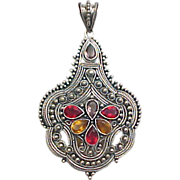 Vintage Sterling Silver Detailed Beadwork Pendant with Stones