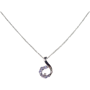 Vintage 14k White Gold Iolite and Diamond Necklace