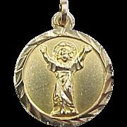 Vintage 14k Gold Religious Jesus Charm / Medallion