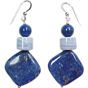 Sterling Silver Lapis Lazuli and Blue Lace Agate Earrings