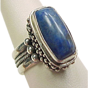 Vintage Sterling Silver Beaded Lapis Lazuli Ring