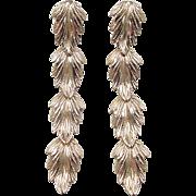 Vintage 14k Gold LONG Leaf Dangle Earrings