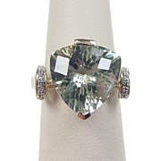 Vintage 10k Gold Green Amethyst and Diamond Ring