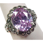 Vintage Sterling Silver Light Purple Faux Amethyst and Marcasite Ring