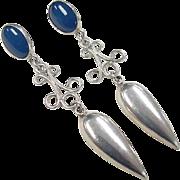 Vintage Sterling Silver Long Chalcedony Earrings