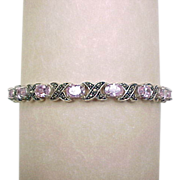 SALE Vintage Sterling Silver Hug and Kiss Marcasite and Pink Ice Bracelet