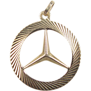 Vintage 14k Gold Mercedes Benz Emblem Pendant / Charm
