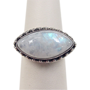 Vintage Sterling Silver Moonstone Ring with Bead Setting