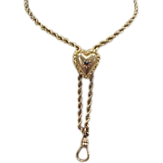 Victorian 10k Gold Garnet Muff Guard Chain with Heart Slide
