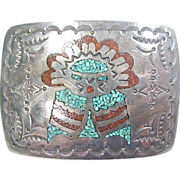 Vintage Native American Belt Buckle with Chip Inlay, Sterling Silver