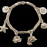 "Vintage 14k Gold Nautical Charm Bracelet ~ 7"""