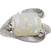 Retro 10k White gold Opal and Diamond Ring