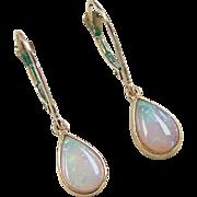 Vintage 14k Gold Opal Dangle Earrings
